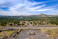 Scenic view from pyramid of sun in teotihuacan near mexico city del sol Stock Photos