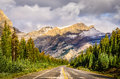 Scenic view of the road on icefields parkway canadian rockies jasper and banff np Stock Photography