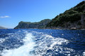 Scenic view on rocky coastline capri island italy from the sea Royalty Free Stock Photo
