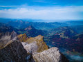 Scenic view from säntis swiss alps panoramic mountain in switzerland looking over canton st gallen Royalty Free Stock Photo