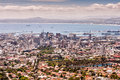 Scenic view of Table Bay, harbour and City Bowl, Cape Town. Royalty Free Stock Photo