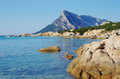 Scenic view of Tavolara from Sardinia coastline. Royalty Free Stock Photo