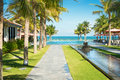 Scenic view of tropical resort in vietnam scene beautiful alley with palm trees standing rows long water line with small stone Royalty Free Stock Photos