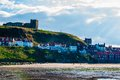 Scenic view of whitby city in autumn sunny day north yorkshire uk october s attraction as a tourist destination is Stock Photography