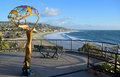 Scenic walkway viewing area with art work in Heisler Park, Laguna Beach, California. Royalty Free Stock Photo