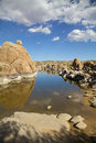 Scenic watson lake kayaking on near prescott arizona with interesting granite rock formations Royalty Free Stock Images