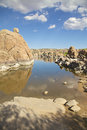 Scenic watson lake near prescott arizona with interesting granite rock formations along the shore Royalty Free Stock Photo
