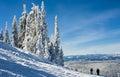 Scenic winter view in canada s cold mountain winters sunny ski resort landscape Stock Photography
