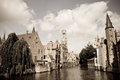 Scenics bruges belgium a canal with medieval buildings in the historic town of Royalty Free Stock Images