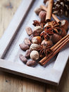 The scent of christmas spices nuts and cocoa beans for baking Stock Photography