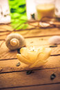 Scented candle sea shells wooden background Royalty Free Stock Photo