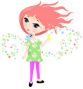 Scented perfume spray illustration of a young girly spraying into the air Royalty Free Stock Image