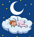 Schätzchen, das auf einer Wolke schläft Stockbild