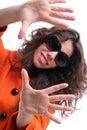 Schöne Frau mit Sonnenbrillen Stockbild