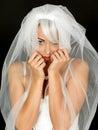 Schönes coy shy young bride portrait Lizenzfreie Stockfotos