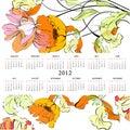 Schablone für Kalender 2012 mit Blumen Stockbilder