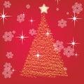 Scheda del nuovo anno con un pelliccia-albero Immagini Stock Libere da Diritti
