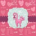 Scheda sveglia di amore con il gatto - per il giorno del biglietto di S. Valentino Immagine Stock