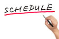 Schedule hand writing word on white board Royalty Free Stock Photo
