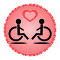 Schematic disabled loving couple in a wheelchair
