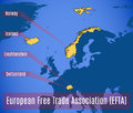 Schematic map of the European free trade Association EFTA. Royalty Free Stock Photo