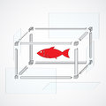 The scheme for building an aquarium for fishes vector Stock Photography