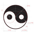 Scheme for drawing of Yin and Yang abstract symbol Royalty Free Stock Photos