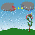 Scheme of lightning in nature