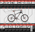 Scheme of mountain bike very elaborated with parts Stock Image