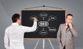 Scheme seo on blackboard two businessman and Stock Photos