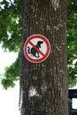 Schild an baum hunde dürfen hier nicht kacken rotes mit balken und hund verbotsschild dürden Stock Images