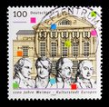 Schiller, Goethe, Wieland, Herder, German National theater, 1100th Anniversary of Weimar, European City of Culture serie, circa 19 Royalty Free Stock Photo