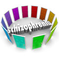 Schizophrenia many doors multiple personality disorder the word surrounded by colorful to illustrate Stock Photos