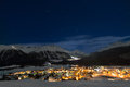 Schlarigna engadin the town in the meadle of Stock Photos