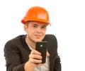 Schließen sie herauf jungen männlichen ingenieur taking mobile picture Lizenzfreies Stockfoto