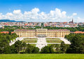 Schoenbrunn Palace with Great Parterre garden in Vienna, Austria Royalty Free Stock Photo