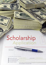 Scholarship application form and money Stock Photo