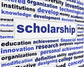 Scholarship conceptual message design students financial help creative poster Royalty Free Stock Photos