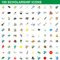 100 scholarship icons set, cartoon style