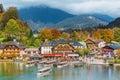Schonau am Konigssee, Germany. A sightseeing boat cruising on Konigssee ( King's Lake ) Royalty Free Stock Photo
