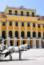 Schonbrunn palace facade of vienna austria with carriage horse Royalty Free Stock Images