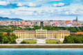 Schonbrunn Palace with Great Parterre garden in Vienna, Austria Royalty Free Stock Photo