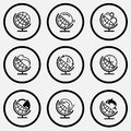 Schoo globe and loupe and gears and arrow and recycling symbo school set black white set icons Royalty Free Stock Image
