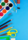 School accessories on colorful paper Royalty Free Stock Photography