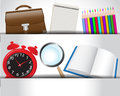 School accessories supplies in paper pockets loop alarm clock pencils briefcase notebook and book Stock Photos