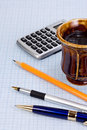 School accessory and coffee Stock Image