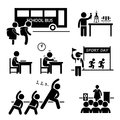 School activity event for student clipart a set of pictograms representing activities by children Stock Photography