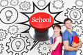 School against digitally generated red push button the word and two students both with notepads Royalty Free Stock Photos