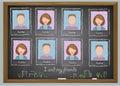 School album yearbook and chalkboard