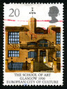 The School of Art in Glasgow UK Postage Stamp Royalty Free Stock Photo